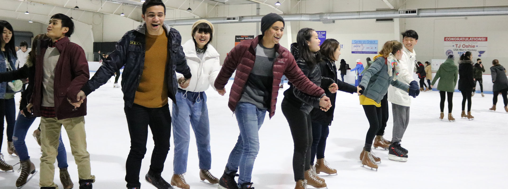 International students at the ice rink