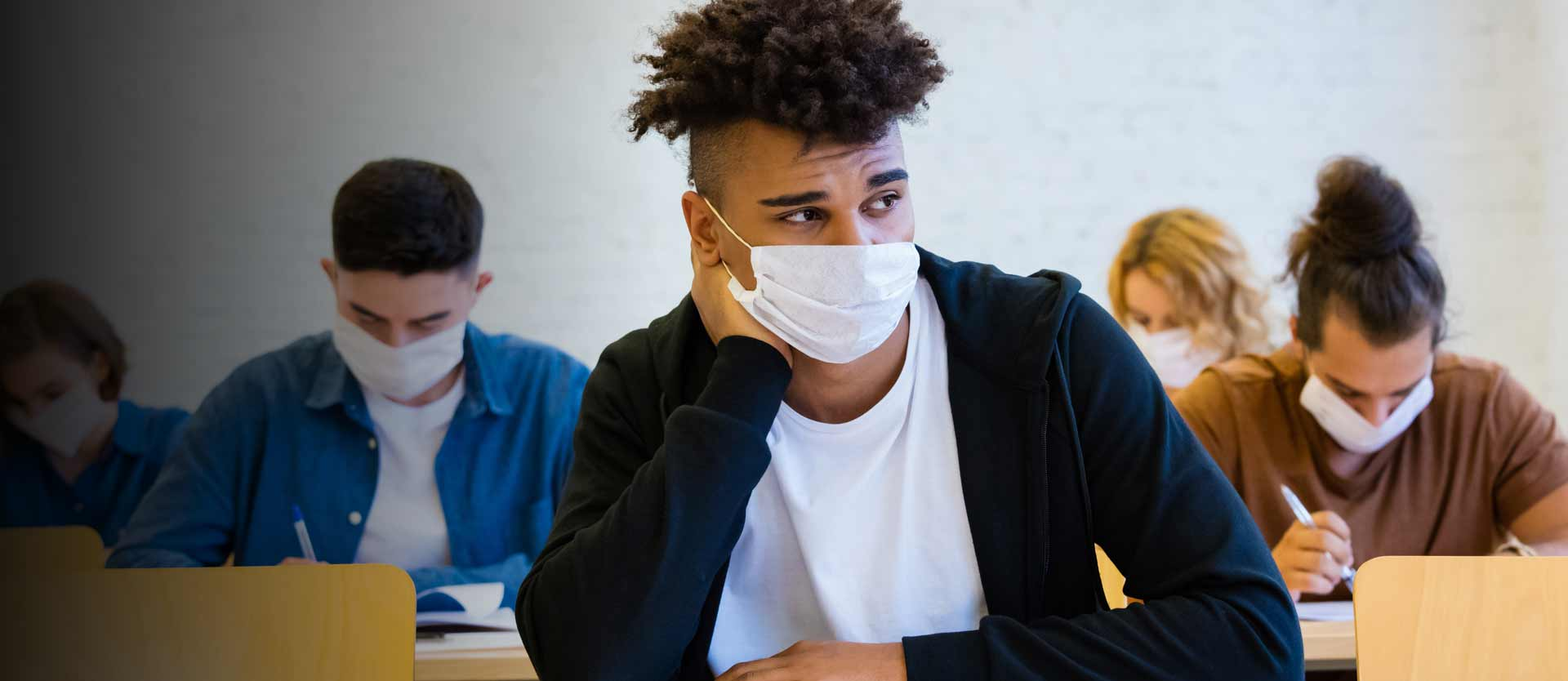 students wearing masks in the classroom