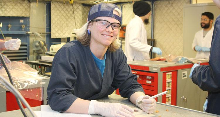 Female engineering student in the lab