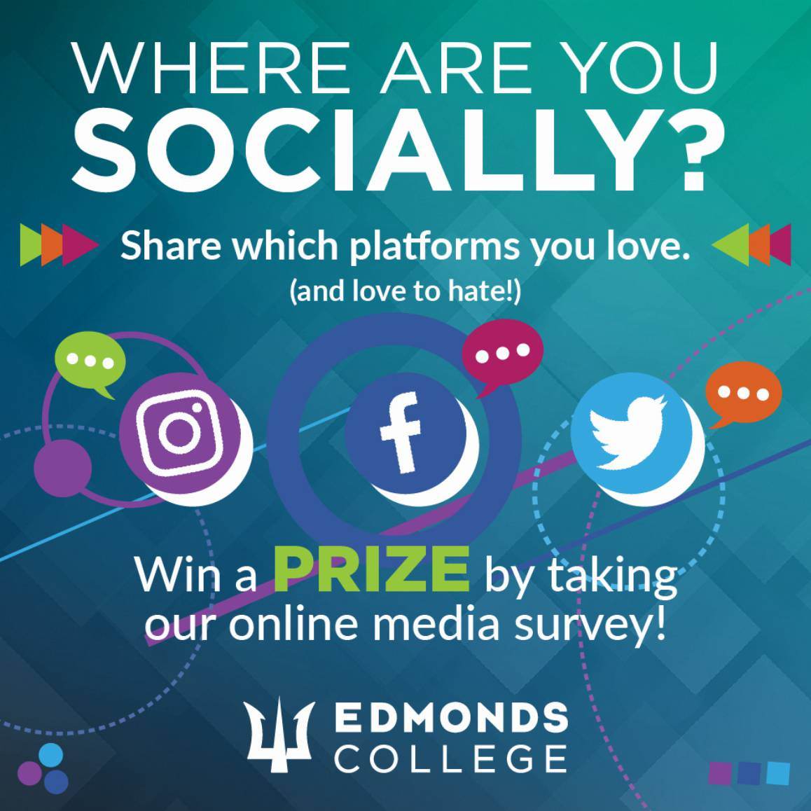 Where are you socially? Take our survey and get a chance at winning a prize.