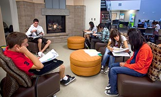 Students studying in Brier Hall lobby