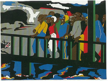 Jacob Lawrence's Confrontation at the Bridge