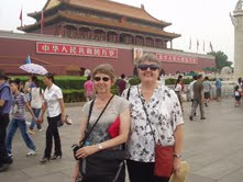 Intensive ESL (English as a Second Language) faculty members Jan Peterson and Kelly Weibel at Tienanmen Square.