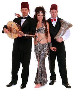 Belly dancer Delilah with two members of the group House of Tarab.