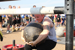 Kristyn Whisman, Dean of Corrections, winning the title of America's Strongest Woman. Photo: Ray Novak