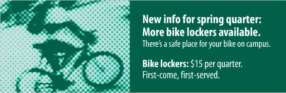 Student on a bike: more bike lockers available