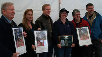 Left to right: Bill Lewallen, Snohomish County Airport; Stephanie Wright, Snohomish County Council; Mukilteo Mayor Joe Marine; Patricia Love, City of Mukilteo; and Edmonds CC's Jean Hernandez and Thomas Murphy.