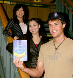 Edmonds CC Community Read scholarship recipients, left to right, Bethany Friesen, Olivia Yin and Mark Medema.