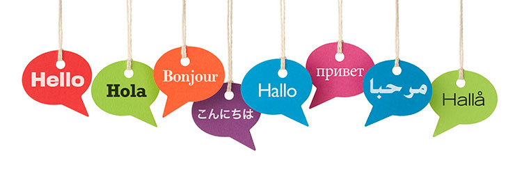 speech bubbles in eight languages