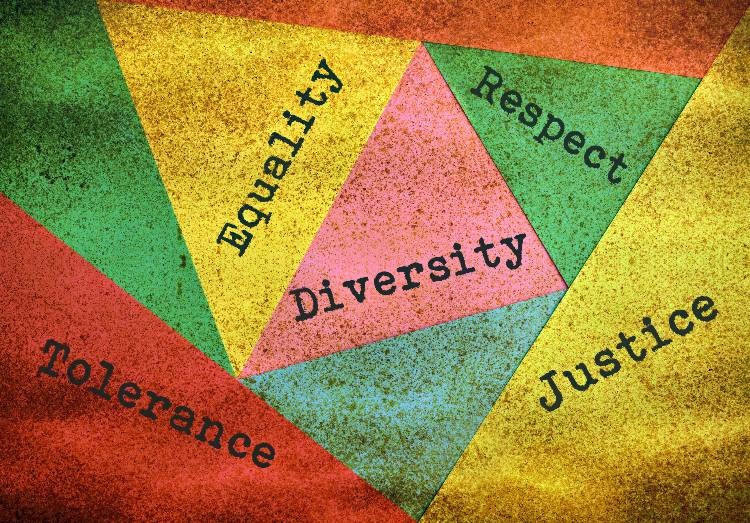 Image of words: equality, diversity, respect, justice, tolerance